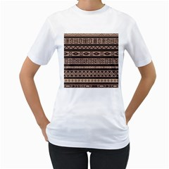 Ethnic Pattern Vector Women s T-Shirt (White) (Two Sided)