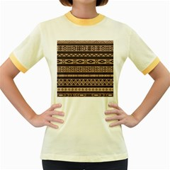 Ethnic Pattern Vector Women s Fitted Ringer T Shirts
