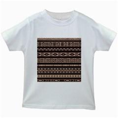 Ethnic Pattern Vector Kids White T-Shirts