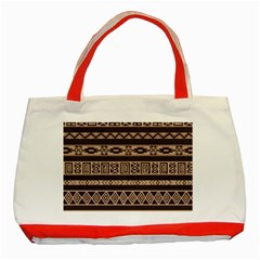 Ethnic Pattern Vector Classic Tote Bag (red)