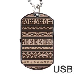 Ethnic Pattern Vector Dog Tag Usb Flash (one Side)