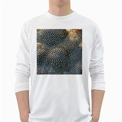 Coral Pattern White Long Sleeve T-Shirts