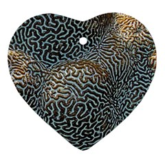 Coral Pattern Heart Ornament (two Sides)