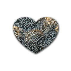 Coral Pattern Rubber Coaster (Heart)
