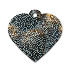Coral Pattern Dog Tag Heart (two Sides)