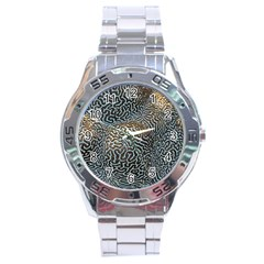 Coral Pattern Stainless Steel Analogue Watch