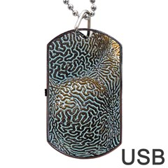 Coral Pattern Dog Tag USB Flash (Two Sides)