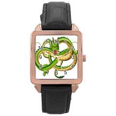Dragon Snake Rose Gold Leather Watch