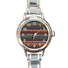 Ethnic Style Tribal Patterns Graphics Vector Round Italian Charm Watch