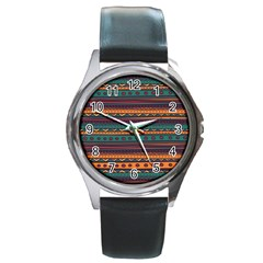 Ethnic Style Tribal Patterns Graphics Vector Round Metal Watch