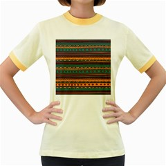 Ethnic Style Tribal Patterns Graphics Vector Women s Fitted Ringer T Shirts