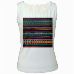 Ethnic Style Tribal Patterns Graphics Vector Women s White Tank Top