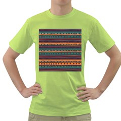 Ethnic Style Tribal Patterns Graphics Vector Green T Shirt