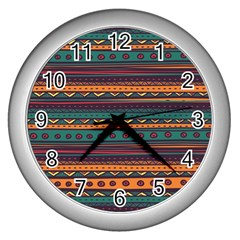 Ethnic Style Tribal Patterns Graphics Vector Wall Clocks (silver)