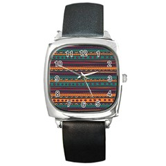 Ethnic Style Tribal Patterns Graphics Vector Square Metal Watch