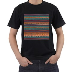 Ethnic Style Tribal Patterns Graphics Vector Men s T Shirt (black) (two Sided)