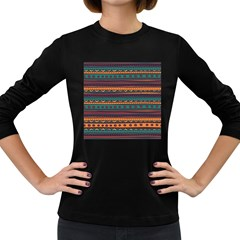 Ethnic Style Tribal Patterns Graphics Vector Women s Long Sleeve Dark T-Shirts