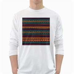 Ethnic Style Tribal Patterns Graphics Vector White Long Sleeve T-Shirts