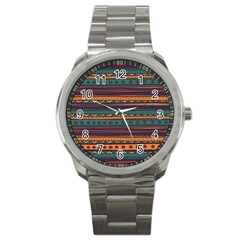 Ethnic Style Tribal Patterns Graphics Vector Sport Metal Watch