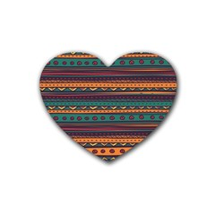 Ethnic Style Tribal Patterns Graphics Vector Rubber Coaster (heart)