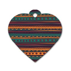 Ethnic Style Tribal Patterns Graphics Vector Dog Tag Heart (two Sides)
