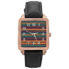 Ethnic Style Tribal Patterns Graphics Vector Rose Gold Leather Watch