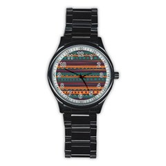 Ethnic Style Tribal Patterns Graphics Vector Stainless Steel Round Watch