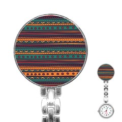Ethnic Style Tribal Patterns Graphics Vector Stainless Steel Nurses Watch