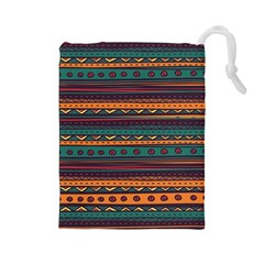 Ethnic Style Tribal Patterns Graphics Vector Drawstring Pouches (Large)
