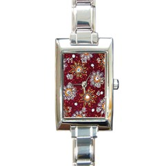 India Traditional Fabric Rectangle Italian Charm Watch