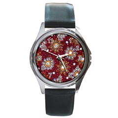 India Traditional Fabric Round Metal Watch