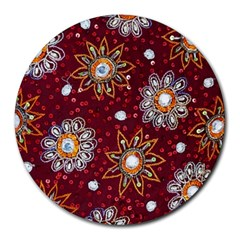 India Traditional Fabric Round Mousepads