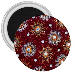 India Traditional Fabric 3  Magnets