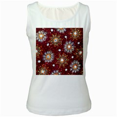 India Traditional Fabric Women s White Tank Top