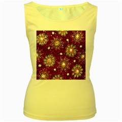 India Traditional Fabric Women s Yellow Tank Top