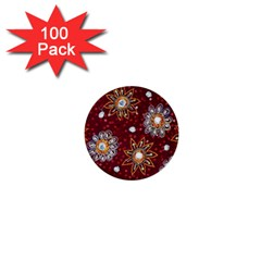 India Traditional Fabric 1  Mini Buttons (100 Pack)