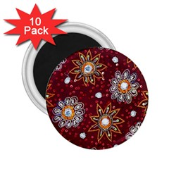India Traditional Fabric 2 25  Magnets (10 Pack)