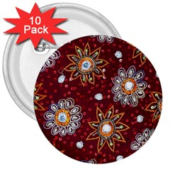 India Traditional Fabric 3  Buttons (10 Pack)