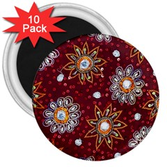 India Traditional Fabric 3  Magnets (10 Pack)