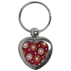 India Traditional Fabric Key Chains (heart)