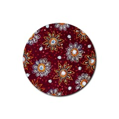 India Traditional Fabric Rubber Round Coaster (4 Pack)