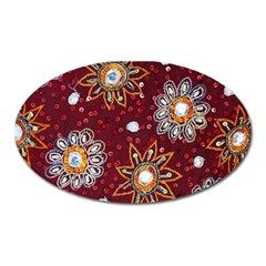 India Traditional Fabric Oval Magnet