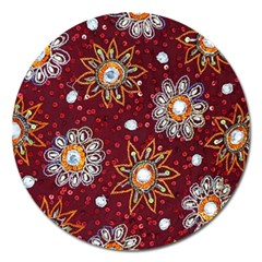 India Traditional Fabric Magnet 5  (round)