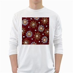 India Traditional Fabric White Long Sleeve T-Shirts