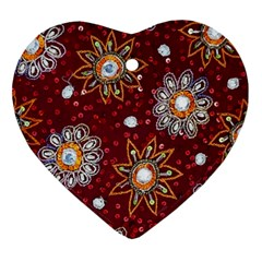 India Traditional Fabric Heart Ornament (two Sides)