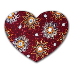 India Traditional Fabric Heart Mousepads
