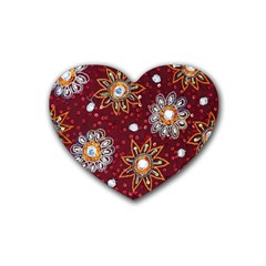 India Traditional Fabric Rubber Coaster (heart)