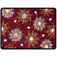 India Traditional Fabric Fleece Blanket (Large)