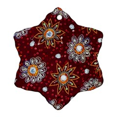 India Traditional Fabric Snowflake Ornament (two Sides)