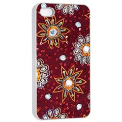 India Traditional Fabric Apple iPhone 4/4s Seamless Case (White)